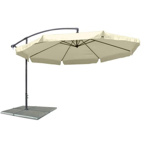 Ampelschirm, Sonnenschirm mit 350 cm Durchmesser in beige, Material Polyester 160G, wasserabweisend, Metallstreben, Neigungswinkel verstellbar, mit Kurbelsystem