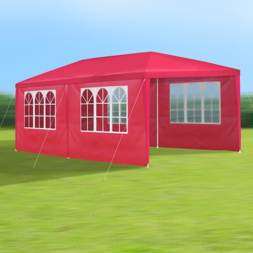 gartenpavillon 3 x 6 m rot pavillon pavillion partyzelt festzelt gartenzelt mit 6. Black Bedroom Furniture Sets. Home Design Ideas