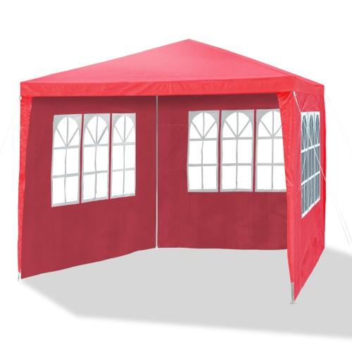Gartenpavillon 3 x 3 m himbeer rot, Allzweckzelt, Pavillon, Pavillion, Partyzelt, Festzelt, Gartenzelt, 3x Seitenwände mit Fenster und 1x Eingang mit Reißverschluss