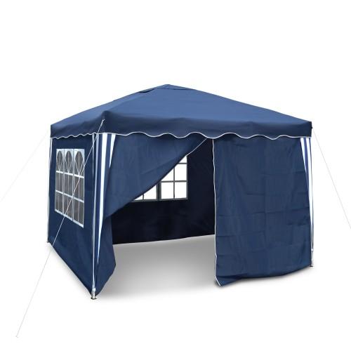 Gartenpavillon, wasserdicht, 3 x 3 m, Falt-Pavillon Nordsee III, Material Oxford 200D innen beschichtet, blau mit Seitenwänden und Tasche