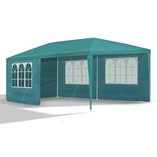 Gartenpavillon 3 x 6 m, petrol-grün, Pavillon, Pavillion, Partyzelt, Festzelt, Gartenzelt, mit 6 Seitenwänden 110G PE