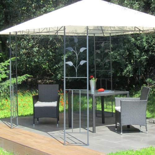 metall pavillon 3 x 3 m mit schmiedeeisen ornamenten anthrazit grau pulverbeschichtet dach in. Black Bedroom Furniture Sets. Home Design Ideas