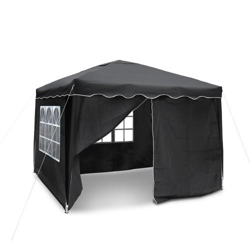 Gartenpavillon, Falt-Pavillon 3 x 3 m, Material Oxford 200D schwarz mit Seitenwänden und Tasche