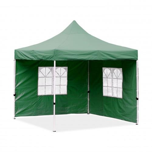 Falt-Pavillon, 3 x 3 m,grün, Profi Ausführung, Material Oxford 420 D, wasserdicht, 2 Seitenwände, Befestigung Seitenwände mit Reißverschluß - Neue Version 2020