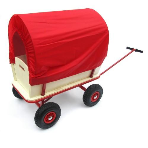 Bollerwagen, Transportwagen Handwagen Wagen aus Holz mit Metallrahmen und Plane rot