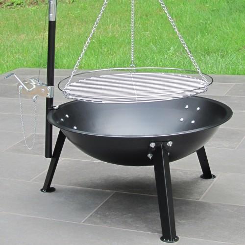 schwenkgrill mit feuerschale galgen und kurbelmechanik 59 cm schale grillfl che 47 cm. Black Bedroom Furniture Sets. Home Design Ideas