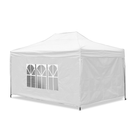 Gartenpavillon, wasserdicht, 3 x 4,5 m, Falt-Pavillon, Material Oxford 420D innen beschichtet, weiß inkl. Seitenwände 2x mit Fenster/ 1x verschließbar/ 1x Komplett geschlossen