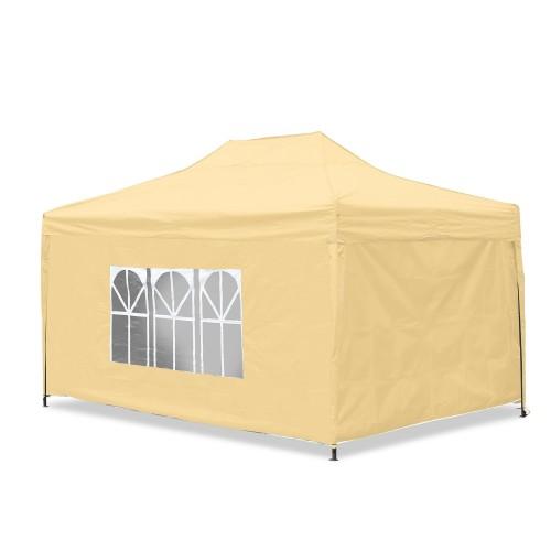 Gartenpavillon, wasserdicht, 3 x 4,5 m, Falt-Pavillon, Material Oxford 420D innen beschichtet, beige inkl. Seitenwände 2x mit Fenster/ 1x verschließbar/ 1x Komplett geschlossen