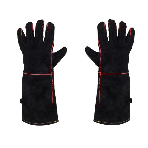 Grillhandschuhe Hitzeschutzhandschuhe Ofenhandschuhe Backhandschuhe Leder 1Paar Grillhandschuhe, Größe: Universal, Länge: 41,50 cm, Material: Leder Schwarz