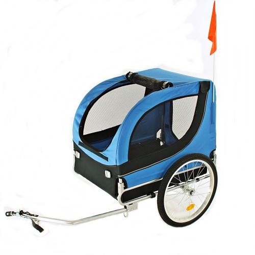 Fahrradanhänger Hundeanhänger Lastenanhänger Tier Anhänger Fahrrad Hunde Blau schwarz incl. Regenschutz