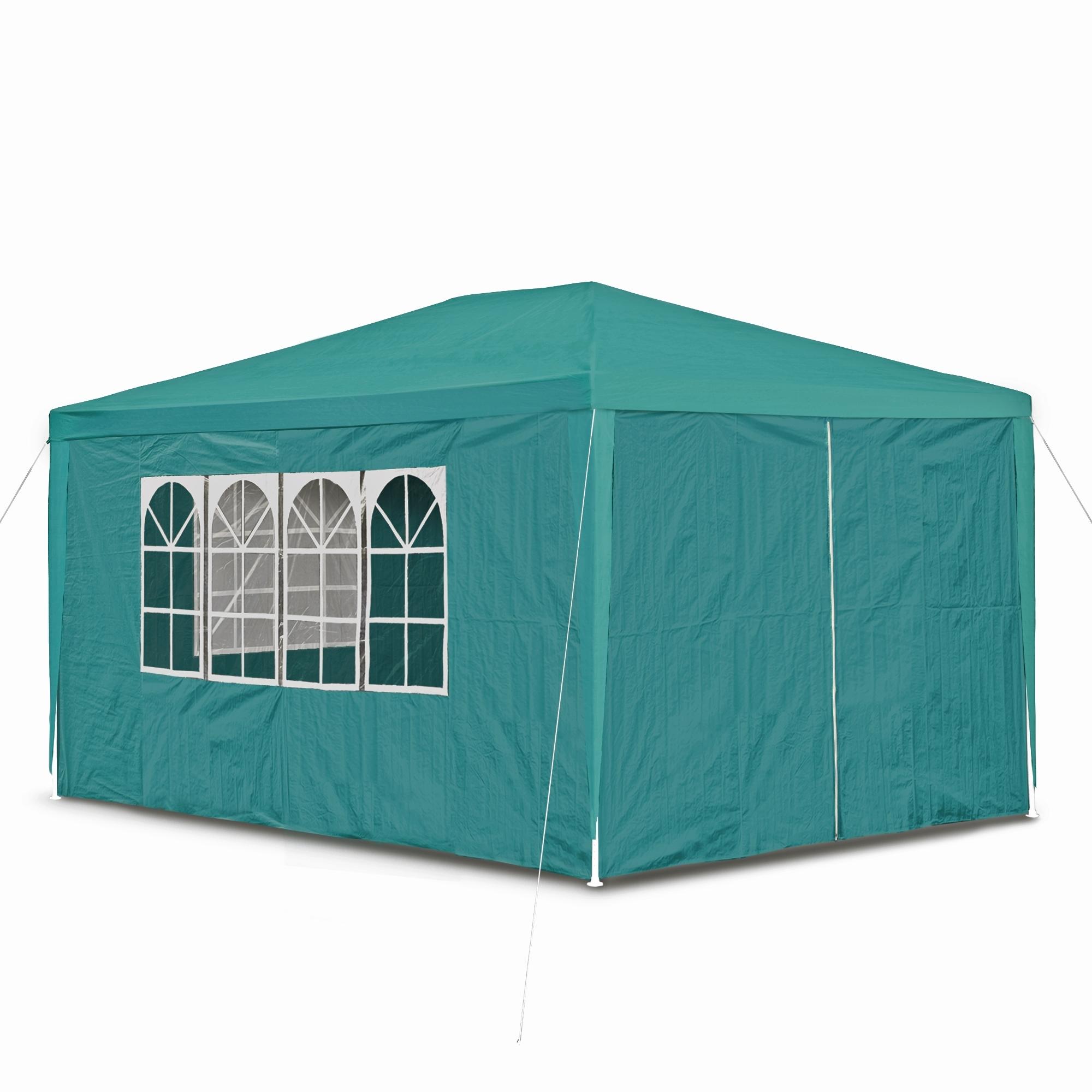 gartenpavillon 3 x 4 m mit 4 seitenw nden 3 x fenster und t r mit reisverschluss petrol gr n. Black Bedroom Furniture Sets. Home Design Ideas