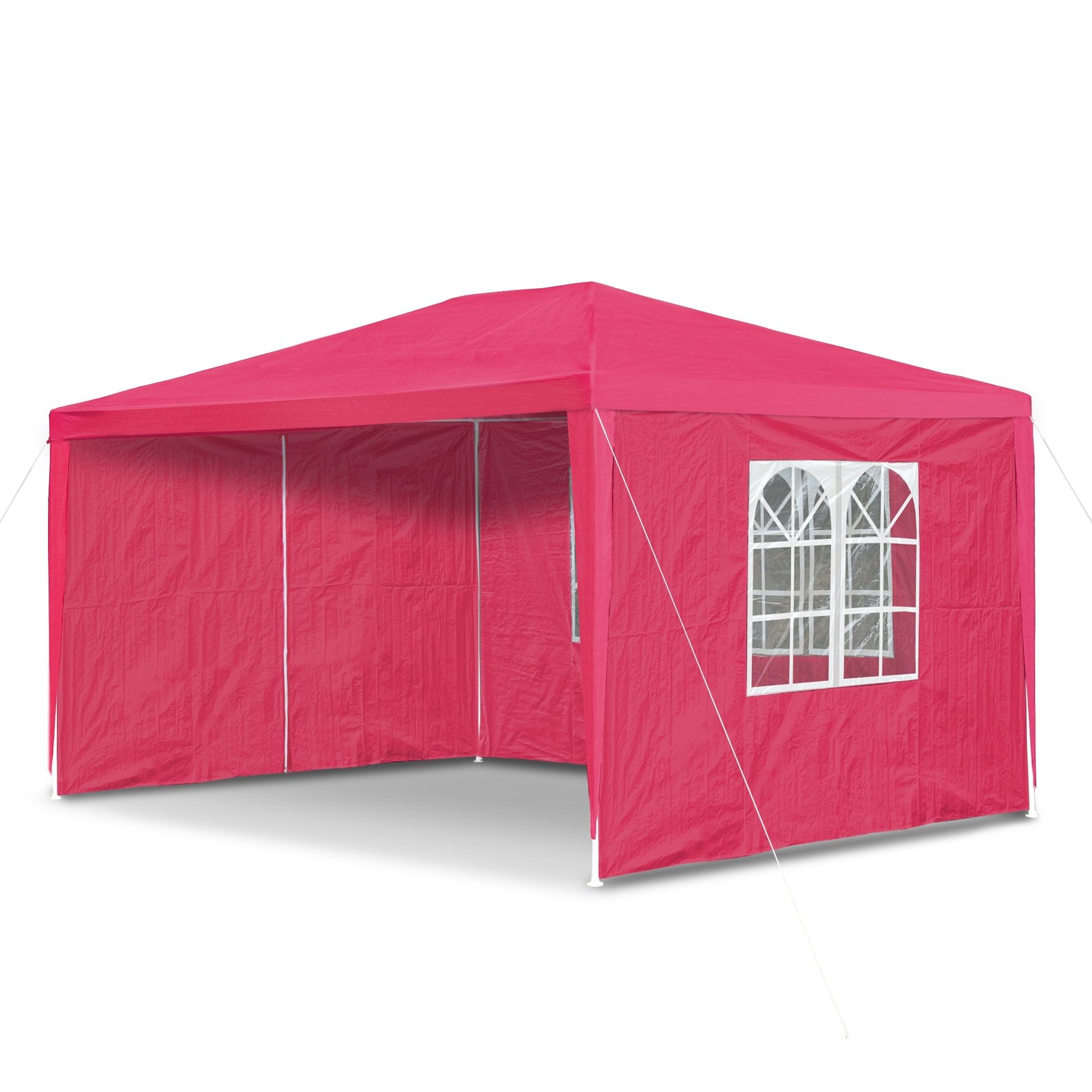 gartenpavillon 3 x 4 m mit 4 seitenw nden 3 x fenster und t r mit reisverschluss himbeer rot. Black Bedroom Furniture Sets. Home Design Ideas