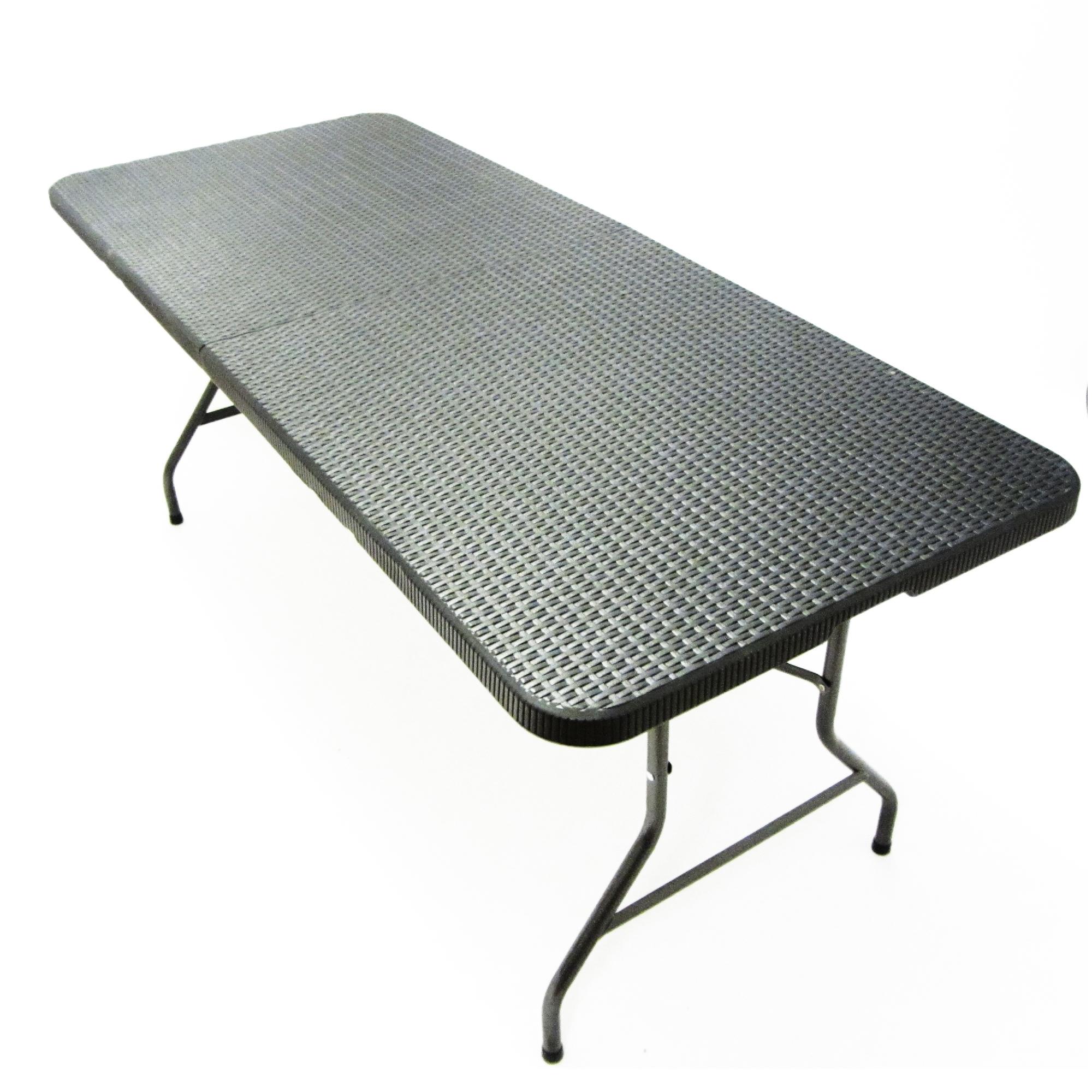Klapptisch Rattan.Klapptisch Falttisch Gartentisch Campingtisch Partytisch Buffettisch Faltbarer Tisch Koffertisch 180 X 75 X 74 Cm Rattan Optik Mit Tragegriff