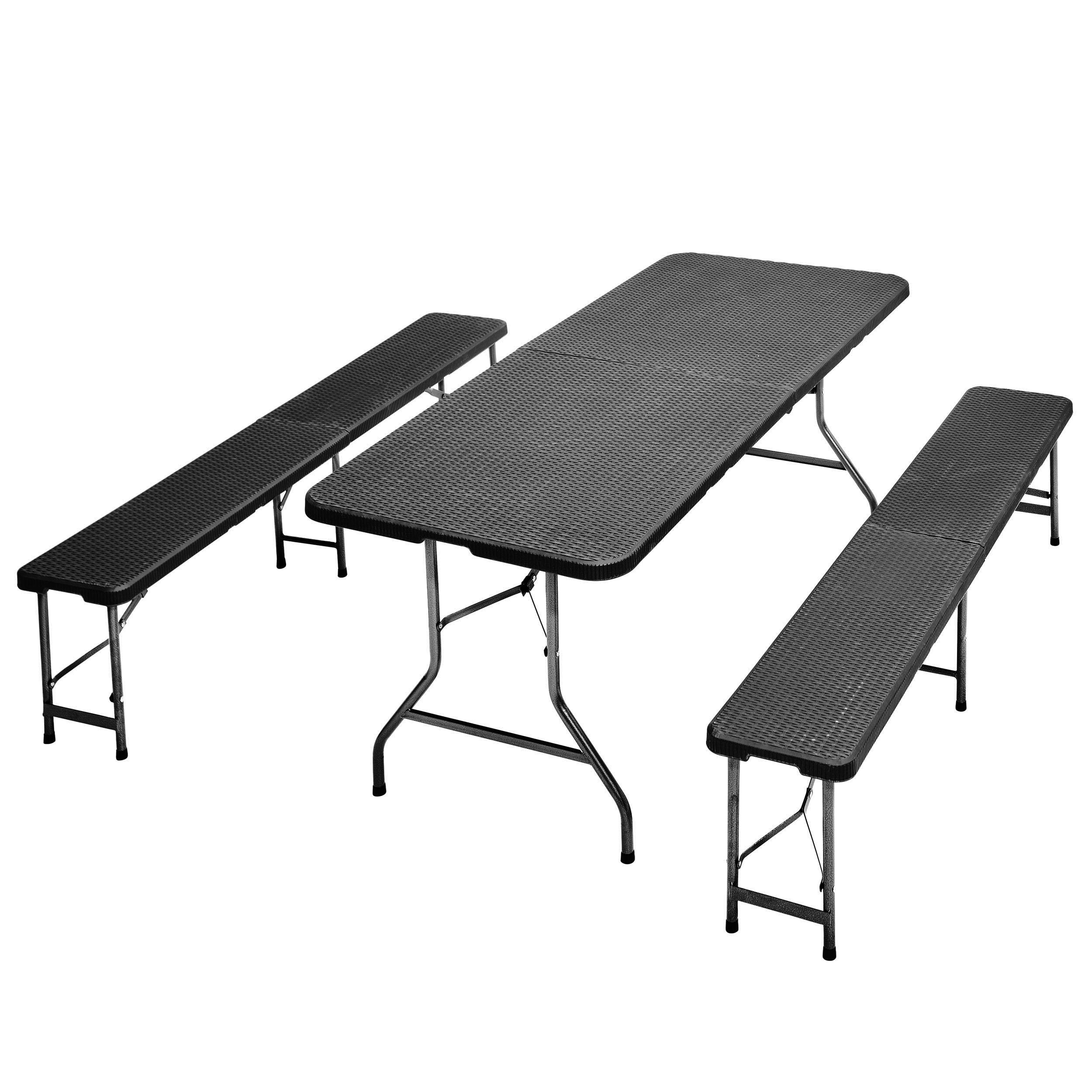 Frühstücks Garnitur, Camping-Set, Esstisch klappbar, Rattan-Optik,1 ...