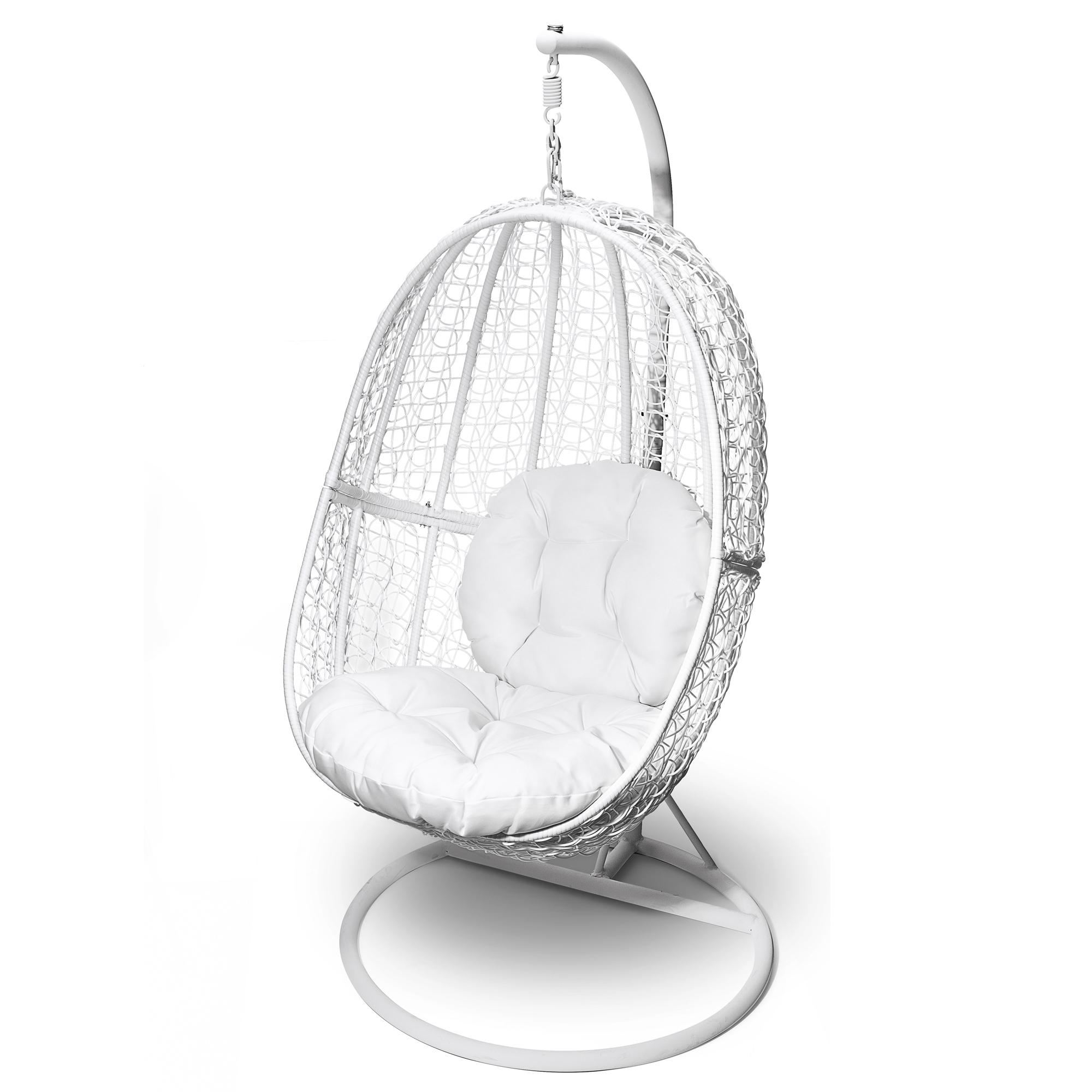 fauteuil suspendu en rotin avec support si ge et coussin de dossier. Black Bedroom Furniture Sets. Home Design Ideas