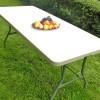 JOM Table pliable en plastique Blanc 183 x 75 x 74 cm cm, 8 places PARTY Buffet table pliante Table d'appoint portable pour camping ou réception  - Crème clair  Portable