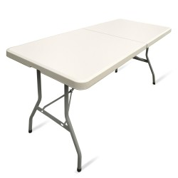 JOM Table pliable en plastique Blanc 183 x 75 x 74 cm cm, 8 places PARTY Buffet table pliante Table d'appoint portable pour camping ou réception  - Crème clair  Portable