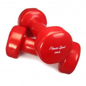 Vinylhanteln für Fitness, Aerobic, Gymnastik und Sport, Kurz- Hanteln rot 3 kg, 1 Paar