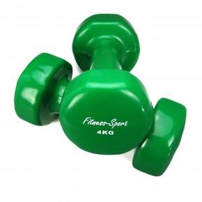 Vinylhanteln für Fitness, Aerobic, Gymnastik und Sport, Kurz- Hanteln dunkelgrün 4 kg, 1 Paar