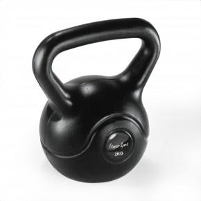 Kugelhantel, Kettlebell, Fitness-Sport, Handgewicht 2 kg, Kugelgewicht mit Vinyl-Ummantelung schwarz