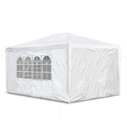 Gartenpavillon 3 x 4 m, mit 4 Seitenwänden, 3 x Fenster und Tür mit Reisverschluss, schnee-weiß PE 100G, Allzweckzelt, Pavillon, Pavillion, Partyzelt, Festzelt, Gartenzelt
