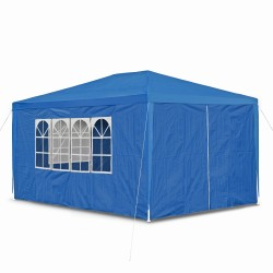 Gazebo, Tent, garden pavilion 3 x 4 m, 4 sidewalls, 3 x windows and door with zippers, blue PE 100G, tent for all purposes, pavilion, party tent garden tent
