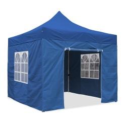 Falt-Pavillon, 3 x 3 m, blau, Profi Ausführung, Material Oxford 420 D, wasserdicht, 4 Seitenwände Befestigung mit Reißverschluß