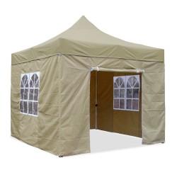 Falt-Pavillon, 3 x 3 m, beige,  Profi Ausführung, Material Oxford 420 D, wasserdicht, 4 Seitenwände, Befestigung Seitenwände mit Reißverschluß