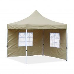 Falt-Pavillon, 3 x 3 m, beige,  Profi Ausführung, Material Oxford 420 D, wasserdicht, 2 Seitenwände, Befestigung Seitenwände mit Reisverschluß