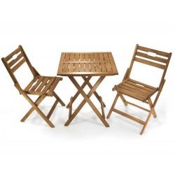 Balkonset Baleares, Garnitur aus Tisch, und 2 x Stühle aus Akazienholz geölt, Tisch 60x60x72 cm/ Stuhl 45x85x35,5 cm, klappbar