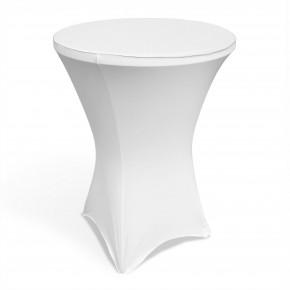 Stehtischhusse, Stretch- Stehtischbezug für runde Tische, Bistrotische mit 4 Beinen, bis 85cm Durchmesser und 120 cm Höhe, weiß, waschbar