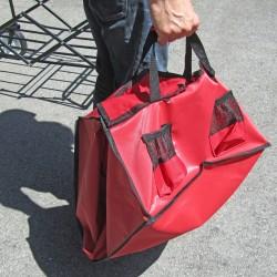 Falt Handwagen, Bollerwagen zusammenklappbar 87 x 55 cm, schwarz-rot, Ladegewicht bis 80 kg, mit Planen- Tragetasche