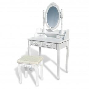 Schminktisch Frisierkommode Frisiertisch Kosmetiktisch mit Spiegel und Hocker, aus Holz weiß, Rococo Stil