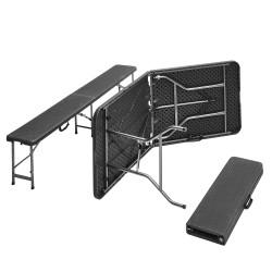 Bierzeltgarnitur, Frühstücks Garnitur, Camping-Set, Esstisch klappbar, Rattan-Optik,1 Tisch 2 Bänke mit Metallgestell pulverbeschichtet, mit Klappfunktion und Tragegriffen