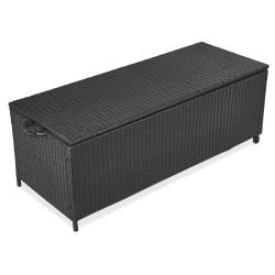 Auflagenbox Alu Rattan Universal 150x58x50 cm Gartenbox Kissenbox Gartentruhe wetterfestes Aluminiumgestell mit Gasdruckstoßdämpfer Wasserdicht Rollbar