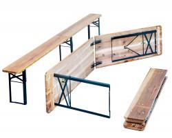 Bierzeltgarnitur, 1 x Tisch/ 2 x Bänke, Maße: Tisch 220x50x76,5cm, Bank 220x25x46,5 cm, Material: Tannen Holz, Stahl Pulverbeschichtet, mit Klappfunktion