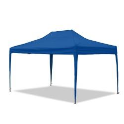 Gartenpavillon, wasserdicht, 3 x 4,5 m, Falt-Pavillon Mallorca, Material Oxford 420D innen beschichtet, blau