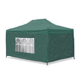Garden pavilion, waterproof, 3 x 4,5m, foldable, material Oxford 420D, pvc coated inside, green, incl. side walls 2x with window / 1x lockable / 1x completely closed