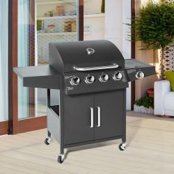 Barbecue au Gaz BBQ  4 +1 Noir Cuisine extérieure 4 brûleurs + 1 feu latéral 11,6 KW/ 2,9 KW avec tablettes latérales et thermomètre