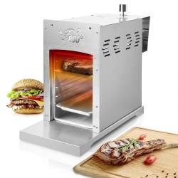 Beef Maker - Oberhitze, Gasgrill aus Edelstahl - Leistung: 3,5 KW/ 800 °C, Stufenloses regulieren, Gas-Keramikbrenner Rosthalter - Gas Niederdruckregler.