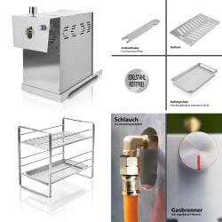 800 °C Oberhitze Gasgrill aus Edelstahl - Leistung: 3,5 KW/ 800 °C, Stufenloses regulieren, Gas-Keramikbrenner Rosthalter - Gas Niederdruckregler.